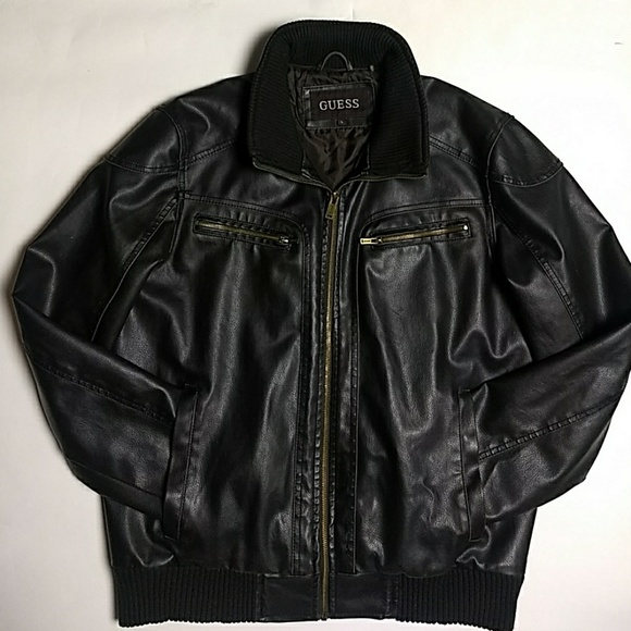 Guess Mens Leather Bomber Jacket With Hoodie